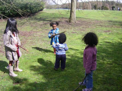 Children Exploring the natural environment